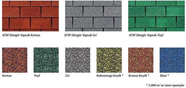 BTM Shingle Renkleri ve BTM Shingle Modelleri - BTM Shingle Fiyatları